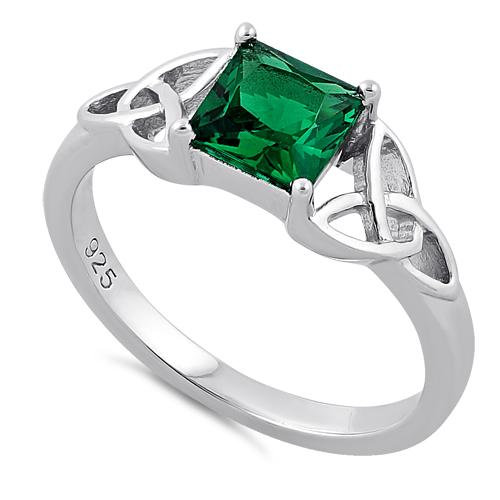 Trinity Ring with Emerald CZ