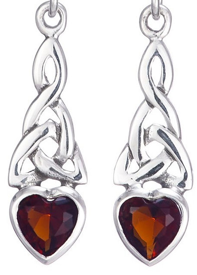 Trinity Heart Garnet Earrings