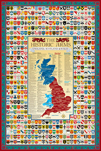 England, Scotland, Wales Coat of Arms Poster