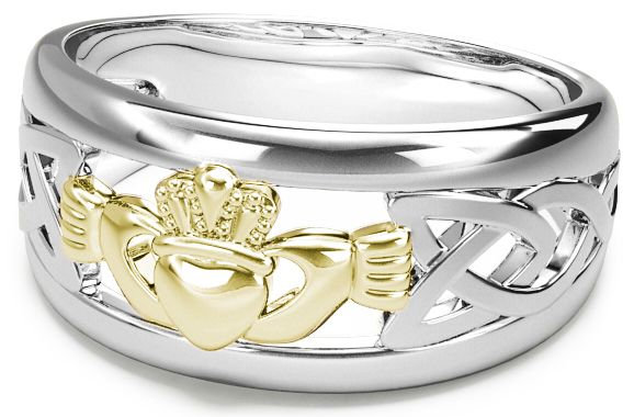 White and Yellow Gold Claddagh