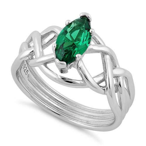 Celtic Ring with Emerald CZ