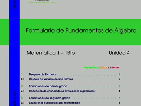 Disponible para descarga: Formulario 4 para  Matemáticas 1