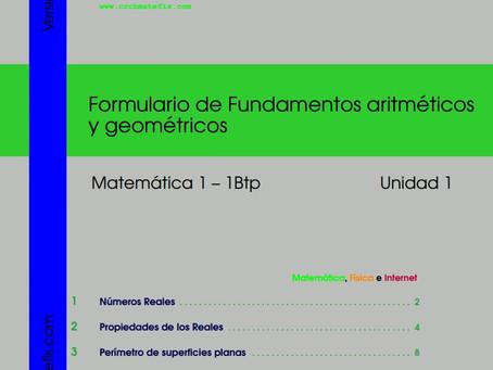 Disponible para descarga: Formulario 1 para  Matemáticas 1
