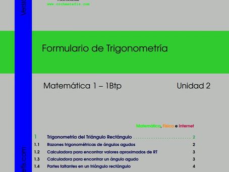 Disponible para descarga: Formulario 2 para  Matemáticas 1