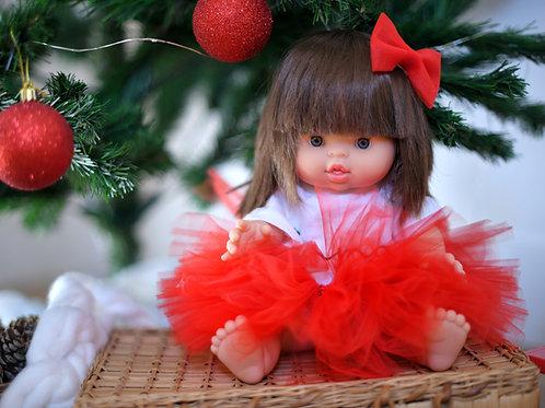 Tutu poupée rouge