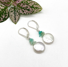 Coin Pearl and Opal Earrings