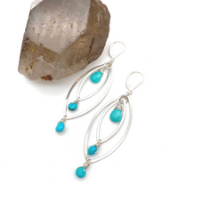 Turquoise Marquis Hoops