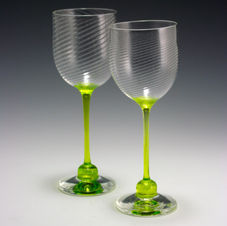 Wine Glasses with Lime Stems