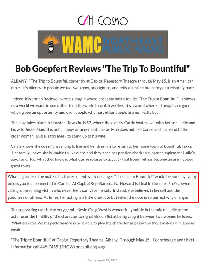 Bob Goepfert Thoughts on The Trip to Bountiful