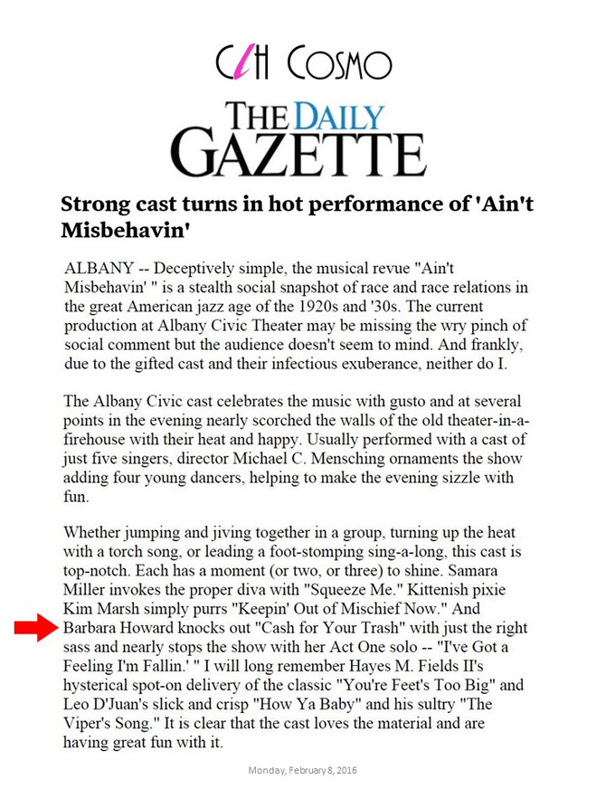 Barbara N. Howard Receives Rave Reviews from The Daily Gazette