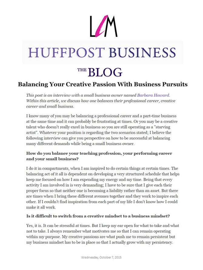 Barbara N. Howard Discusses Balances Balancing her Creative Passion with Creative Business Pursuits