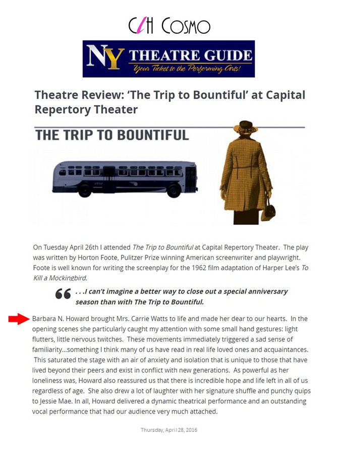 NY Theatre Guide Reviews The Trip to Bountiful
