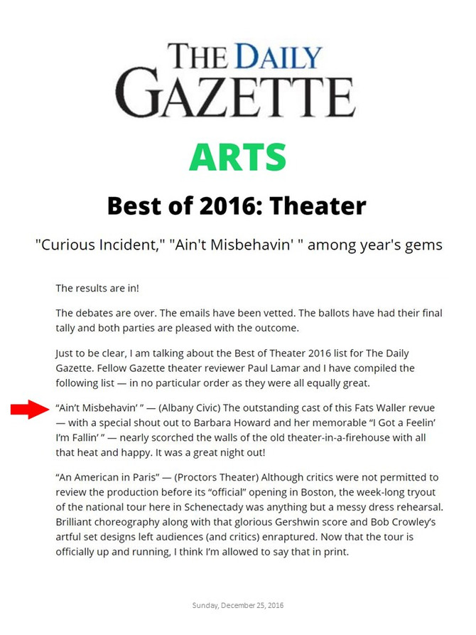 Ain't Misbehavin': Gazette's Best of 2016 Theatre
