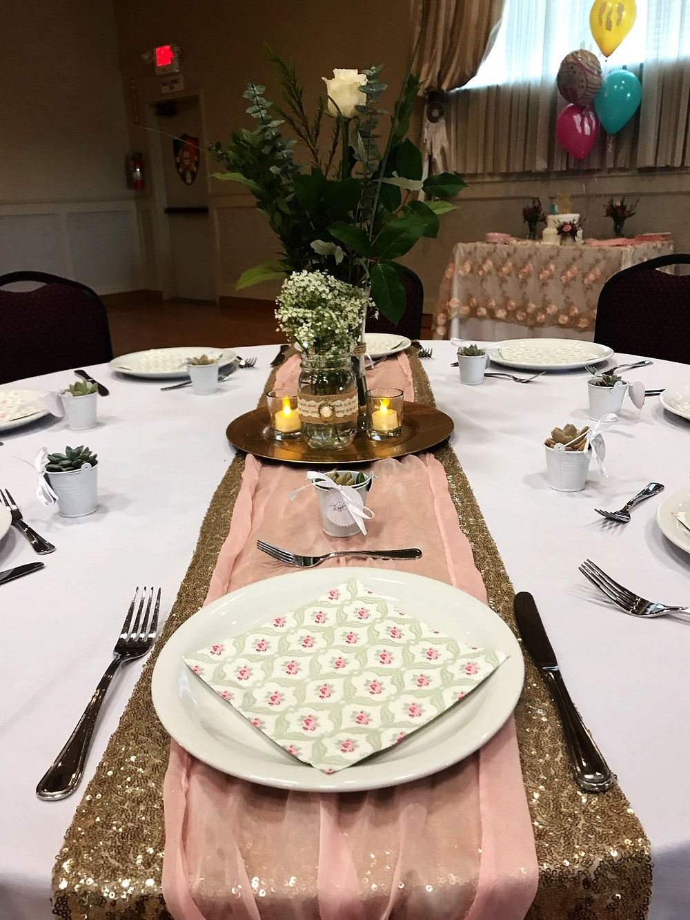 boho chic table center pieces pink and gold