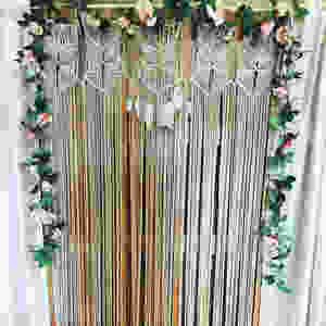 Macrame floral backdrop