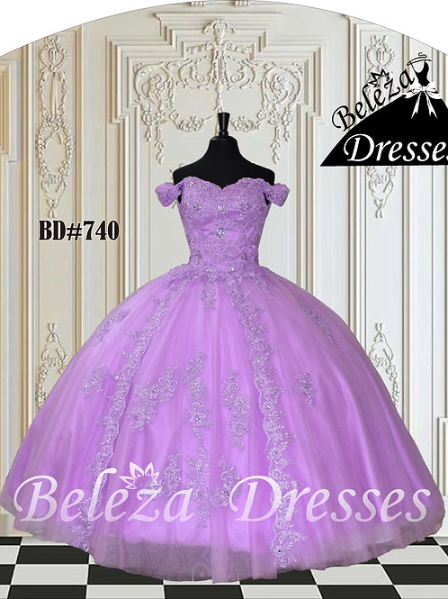 BD#740 Crystal Beaded Appliques over embedded corset on a Tulle Ballgown