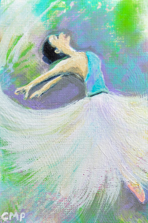 "ACEO Original Mixed Media Painting:  ""Dancing Dreamer"""