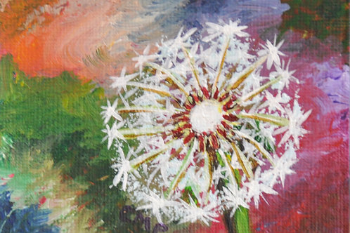 """ACEO:  Original Oil Painting:  """"Wishing Seeds"""""""
