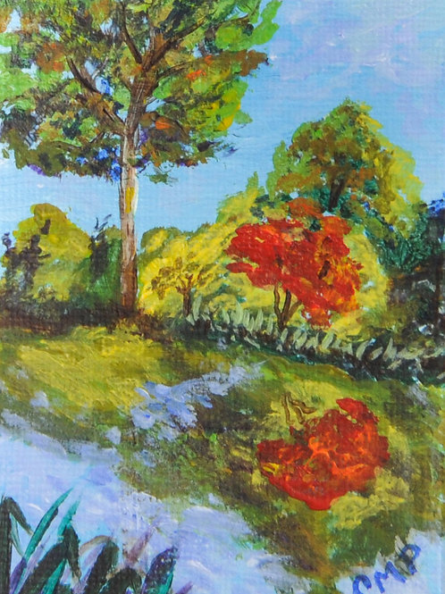 "ACEO:  Original Oil Painting:  ""Ninfa Gardens, Italy"""