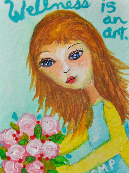 "ACEO Originial Mixed Media Painting ""Wellness is an Art Rebecca"""