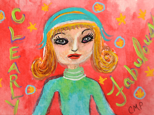 "ACEO: ORIGINAL Mixed Media Painting  ""CLEARLY FABULOUS CLARA"""