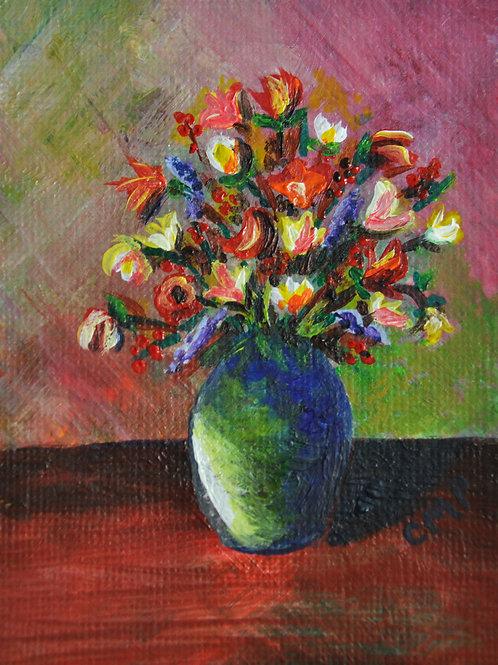"ACEO:  Original Oil Painting:  ""Flowers in Blue Vase"""