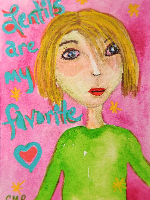 "ACEO: ORIGINAL Mixed Media Painting:   ""LOGAN LOVES LENTILS TOO"""