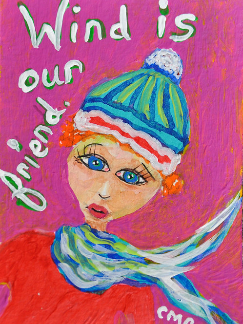 """ACEO:  Original Mixed Media Painting:  """"Wind is Our Friend Felicia"""""""