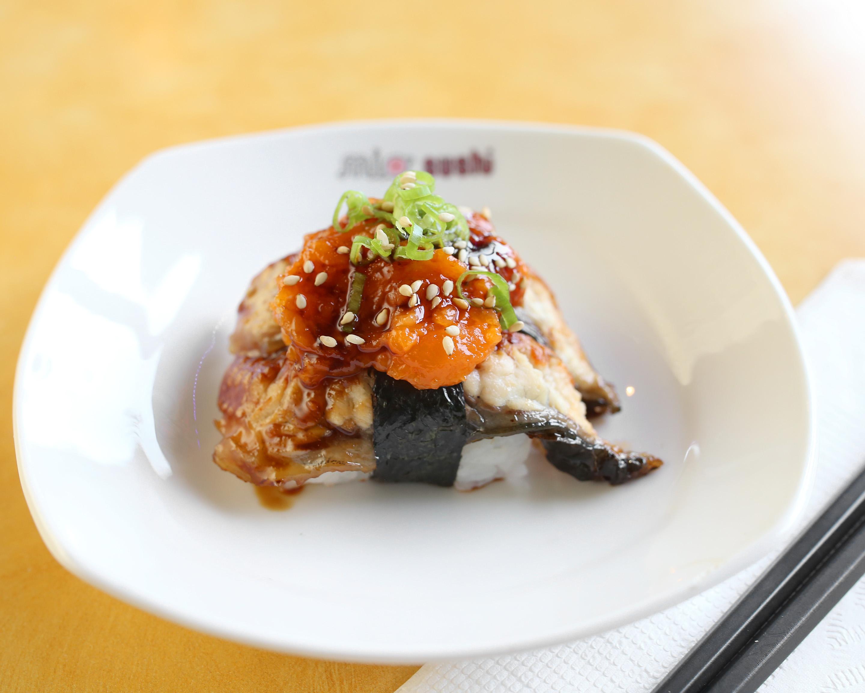 Spicy Salmon on top of Unagi