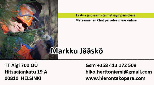 Käyntikortti Metsämies 1.1.2021 - Markku