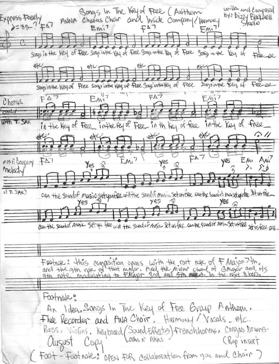 "Blackwell's handwritten lyrics to ""Songs in the Key of Free"""