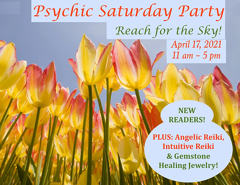 April 2021 psychic party with tulips sq.