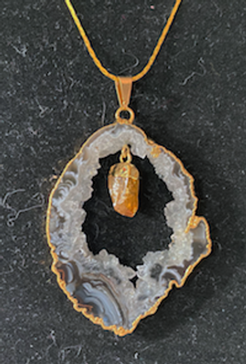Open Geode Necklace with Citrine Accent