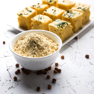 Chick pea flour or Besan powder in a cer