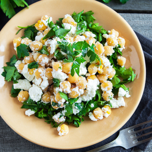 Chickpea salad with fresh feta cheese an
