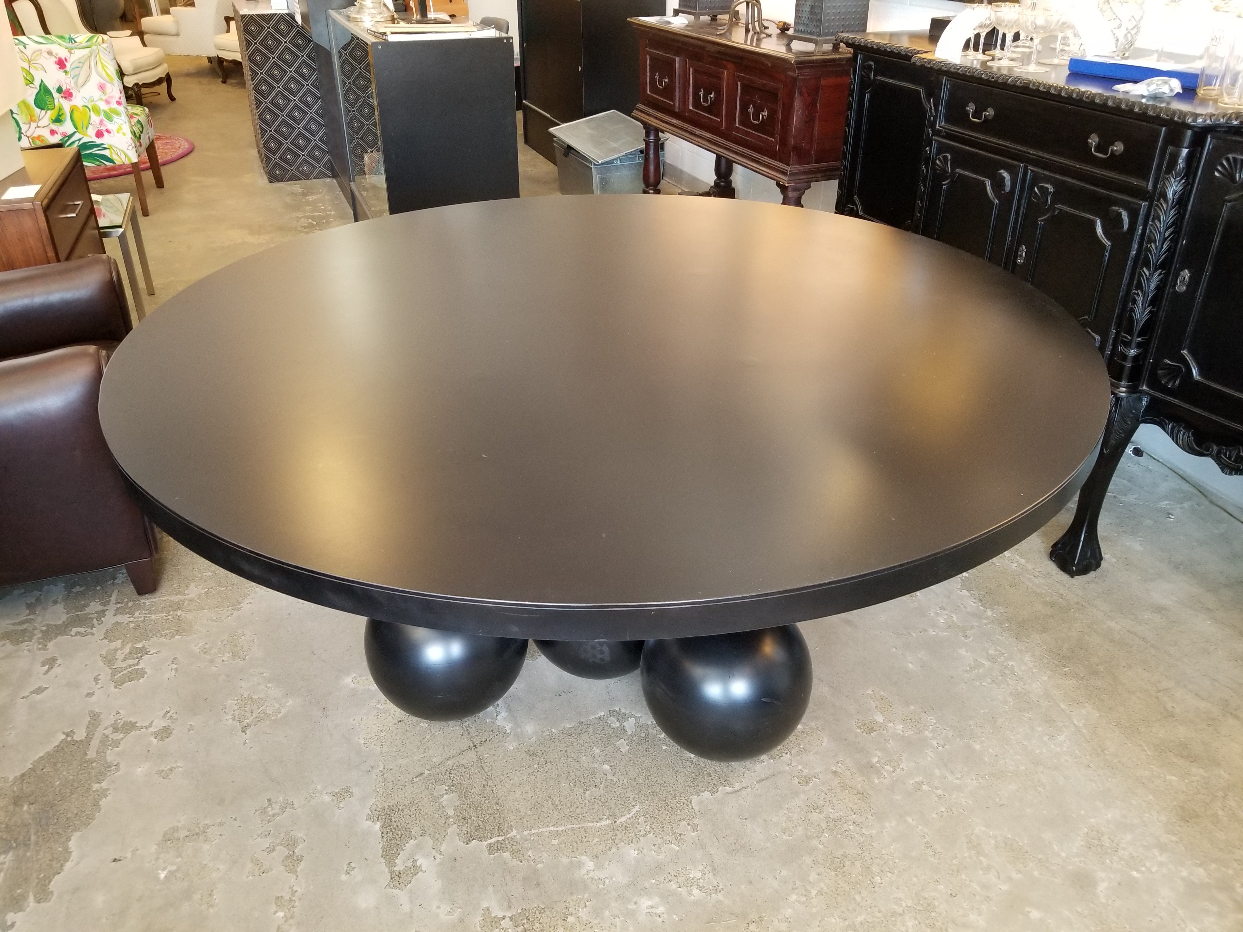 Round Metal Dining Table, Ball Base