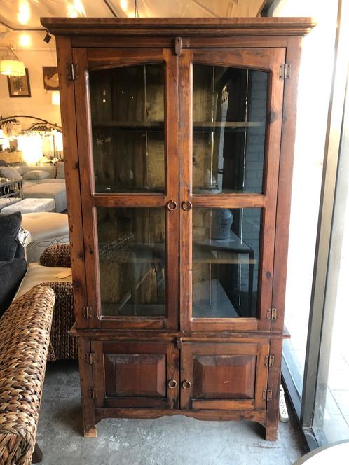 Rustic Wood Cabinet Hutch W Glass Doors