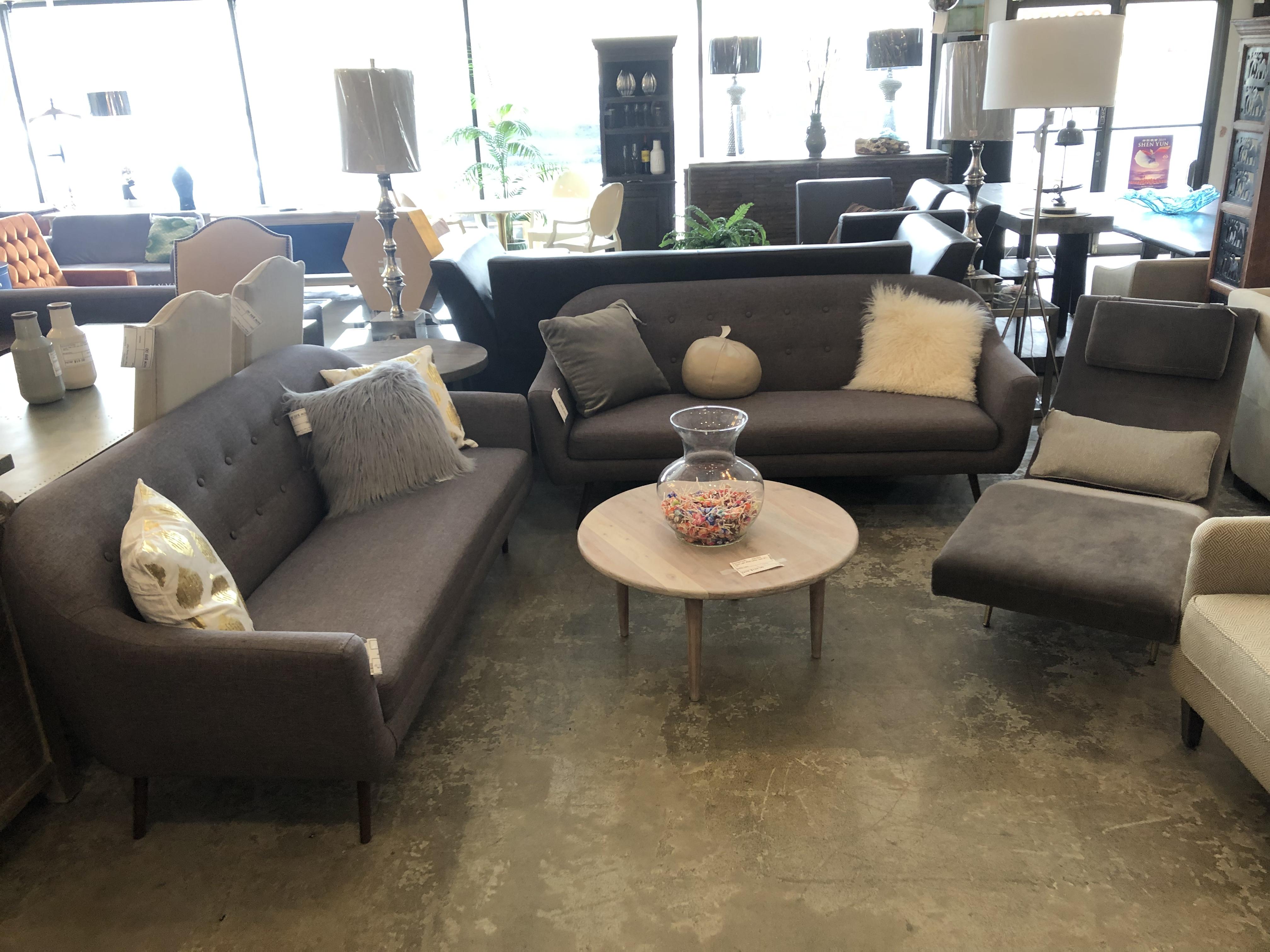 Dark Gray Mid Century Style Sofa