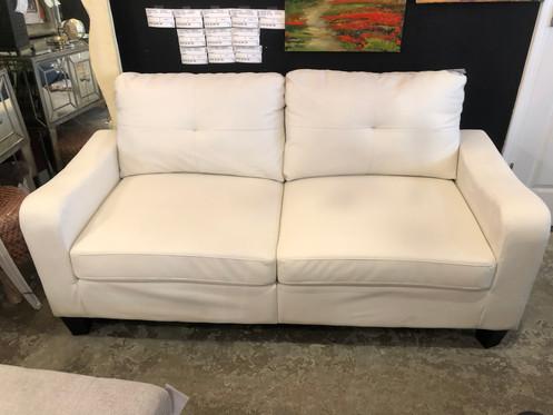 Small White Vinyl Sofa Tufted Back