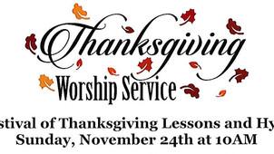 November 24th at 10am - Thanksgiving Worship Service