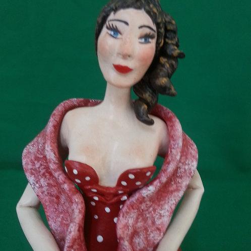 Boneca em cabaça vestido vermelho