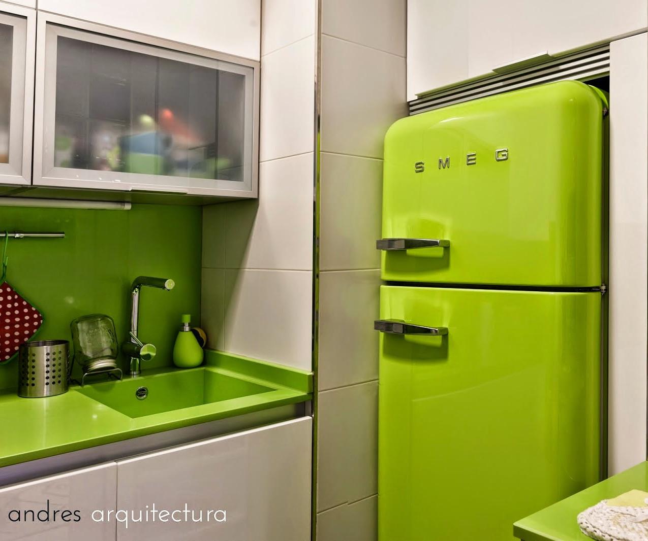 cocina frigo smeg verde pistacho blanco vintage 30 mts