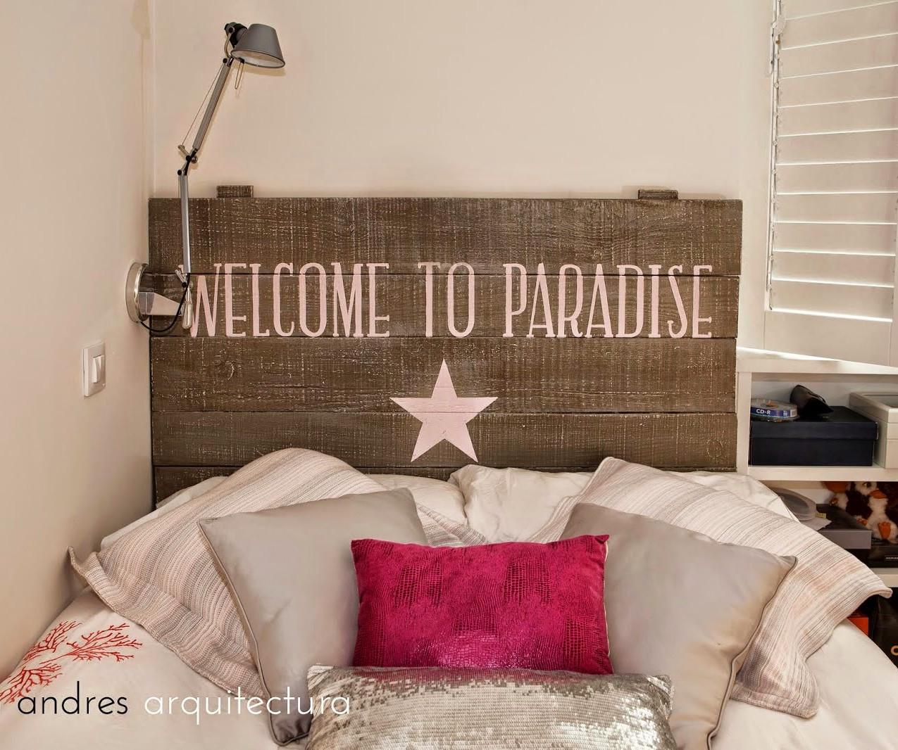 cabecero rue vintage lampara tolomeo cojin rosa estrella paradise 30 metros blanco vint