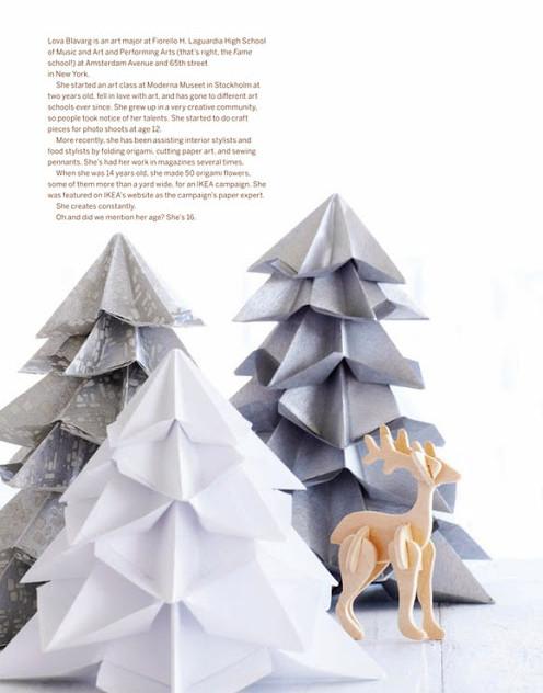 arboles de origami figuras papel vintage natal