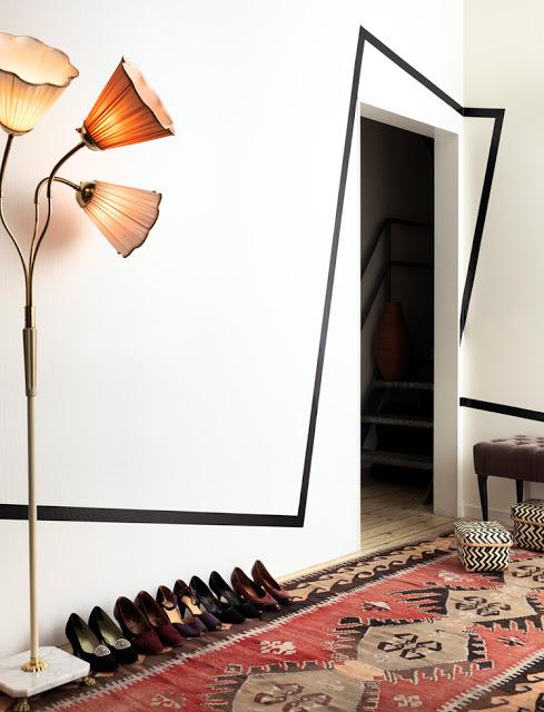 idea para decorar pared raya asimetricaparedesvintage and chic