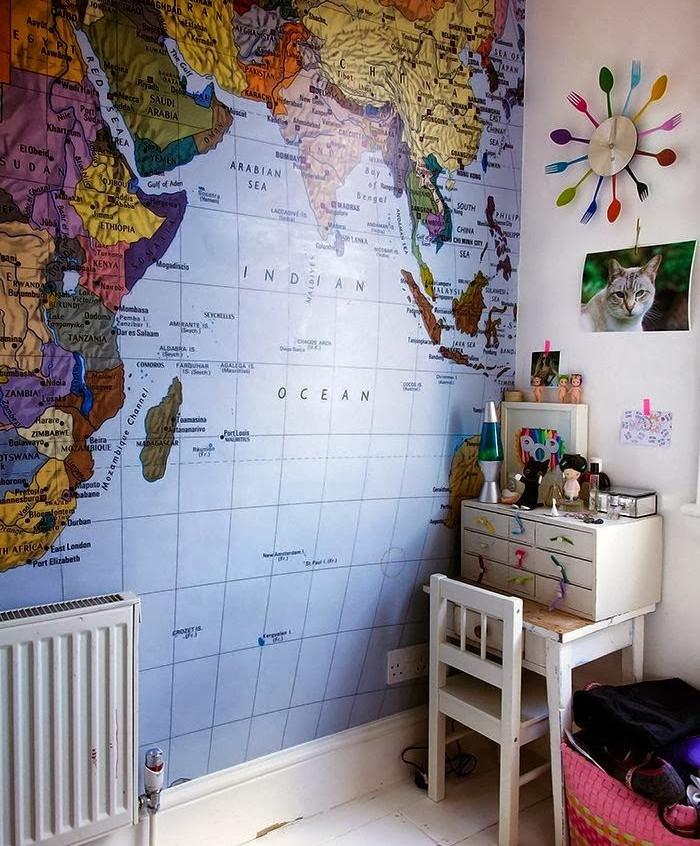mapas blue vintage paredes