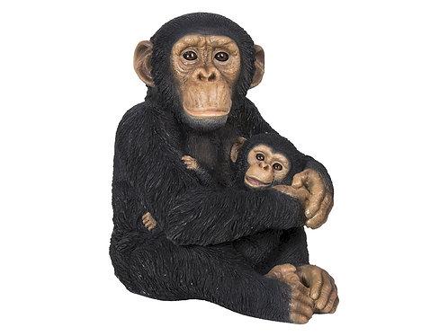 Statue - Chimpanzé avec Bébé - FAUNE