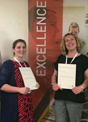 Johanna Carter and Abigail Ankers with Micro suction competency certificates