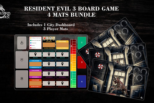 4 mats bundle compatible with Resident Evil 3 board game