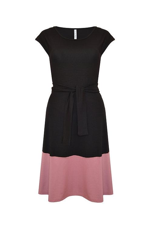 Jerseykleid Lola schwarz/rosé